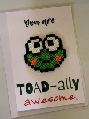 Toad Perler Bead Pun Card