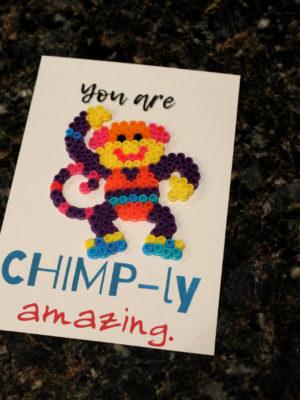 Monkey Chimp Perler Pun Card
