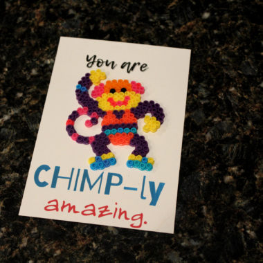 Chimp Perler Pun Card
