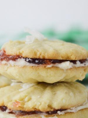 Strawberry Coconut Sandwich Cookies