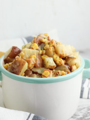 Slow Cooker Cheddar Bacon Ranch Potatoes and Corn
